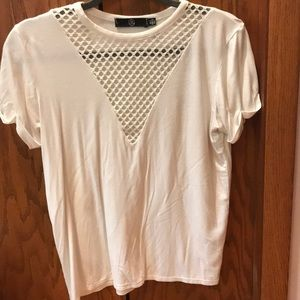 Super soft white tee with mesh detail